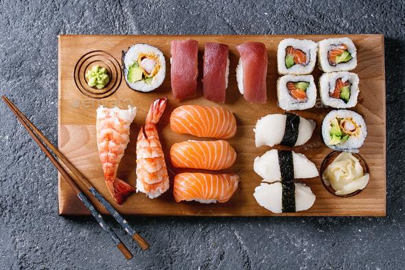Sushi Set nigiri and rolls - Stock Photo - Images