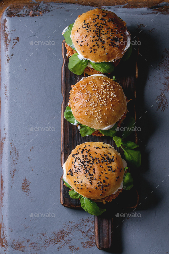 Homemade mini burgers with pulled chicken - Stock Photo - Images
