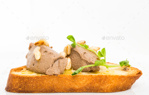 Delicious bruschetta with chicken liver pate. - Stock Photo - Images