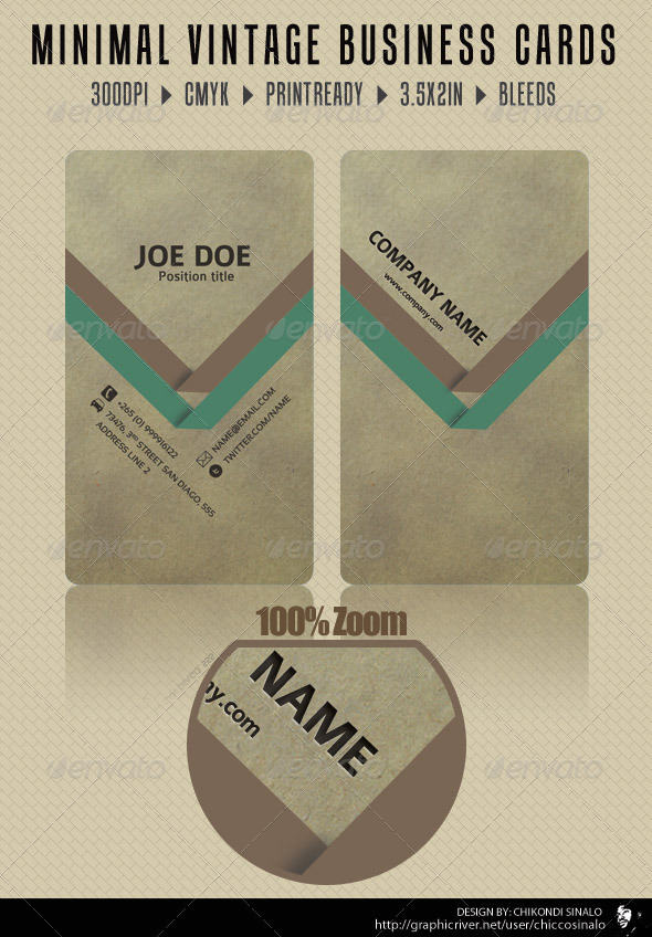 Minimal Vintage Business Card - Grunge Business Cards