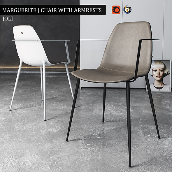 Chair Marguerite with armrests - 3DOcean Item for Sale
