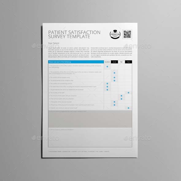 Patient Satisfaction Survey Template By Keboto  Graphicriver
