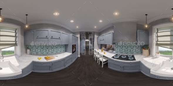 3d Illustration of the Kitchen Interior Design - Architecture 3D Renders
