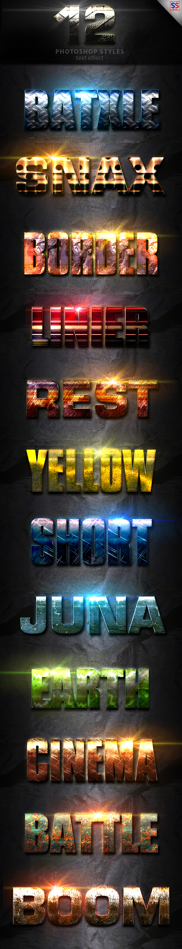 12 Light Photoshop Text Effect Vol 2 - Text Effects Styles