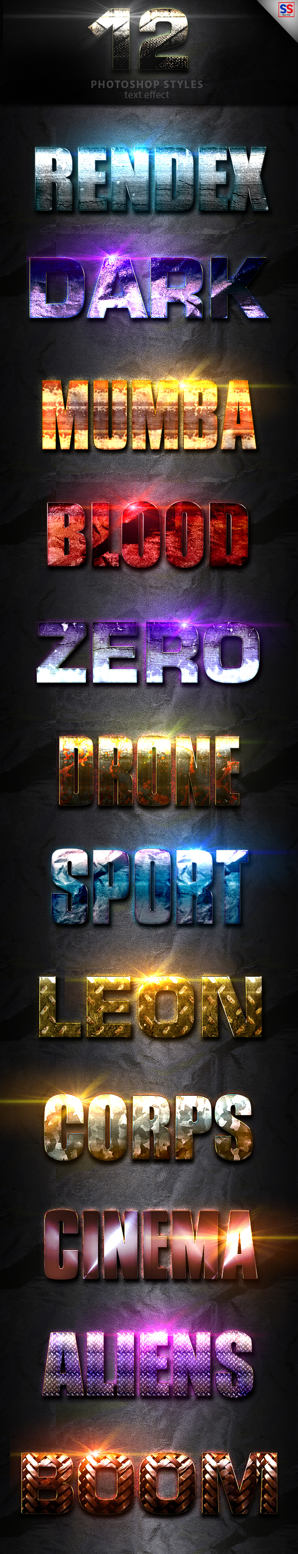 12 Light Photoshop Text Effect Vol 3 - Text Effects Styles