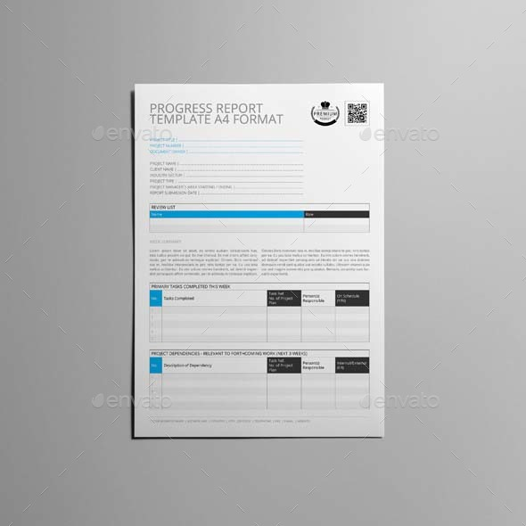 ... Progress Report Template A4 Format   Kfea 4 ...