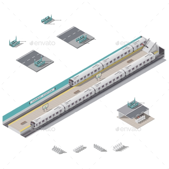 Subway Station Isometric Icon Set - Miscellaneous Vectors