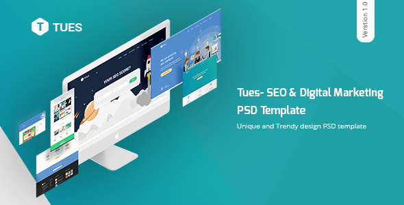 Tues - SEO & Digital  Marketing PSD Template - Marketing Corporate