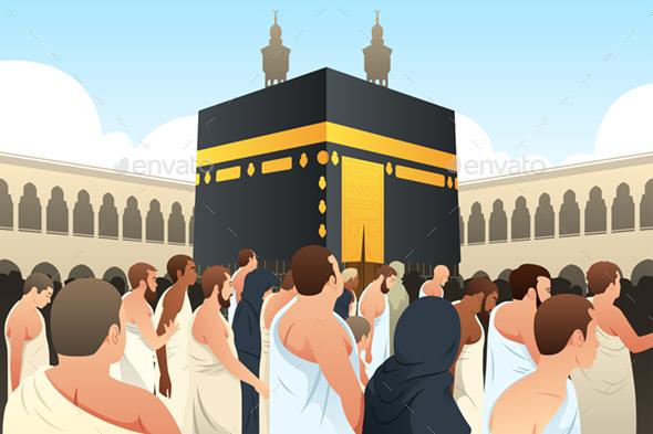 Muslim Pilgrims Walking Around Kaaba in Mecca - People Characters