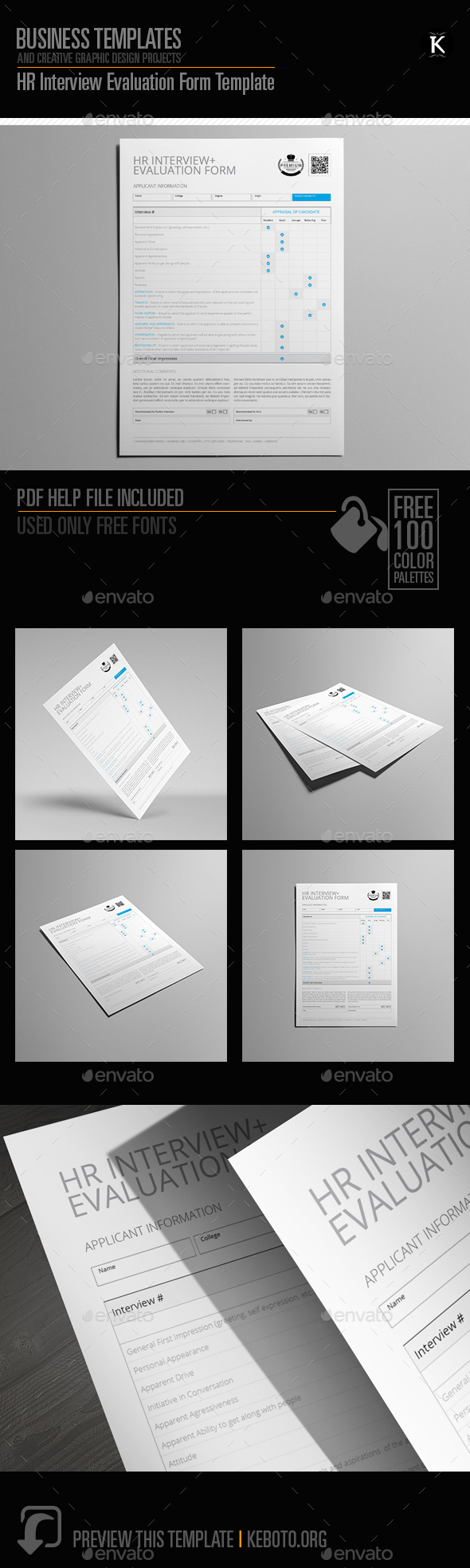 HR Interview Evaluation Form Template by Keboto | GraphicRiver