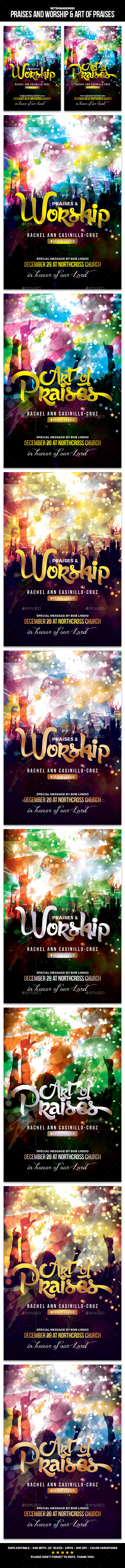 Praises and Worship & Art of Praises Church Flyer - Church Flyers