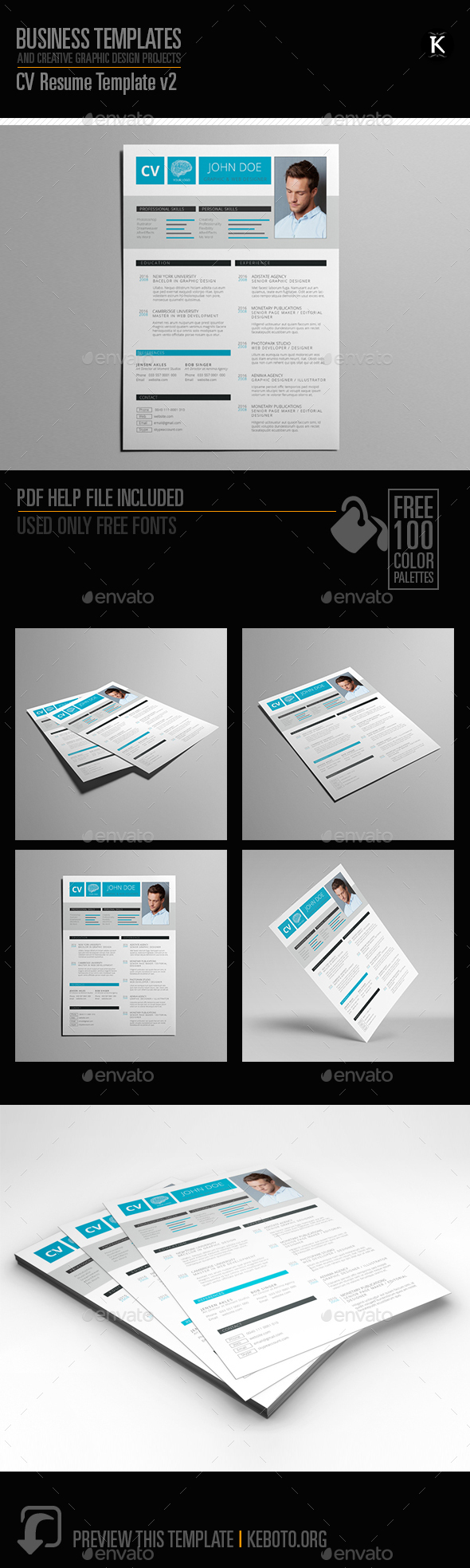 CV Resume Template v2 - Resumes Stationery