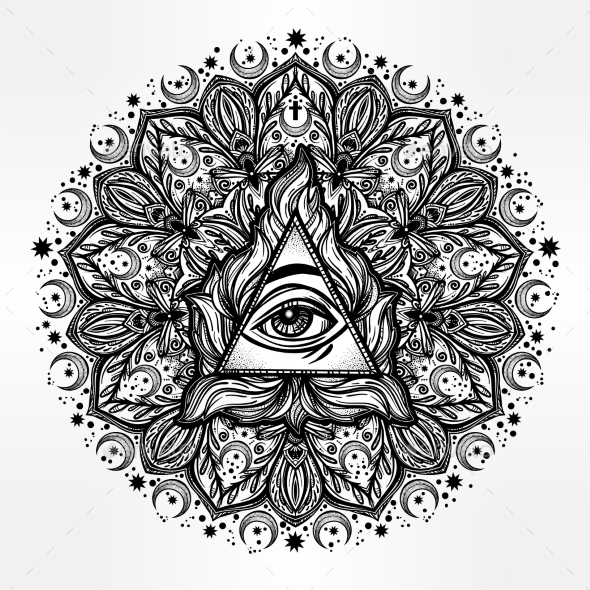 All Seeing Eye in Ornate Round Mandala Pattern - Abstract Conceptual