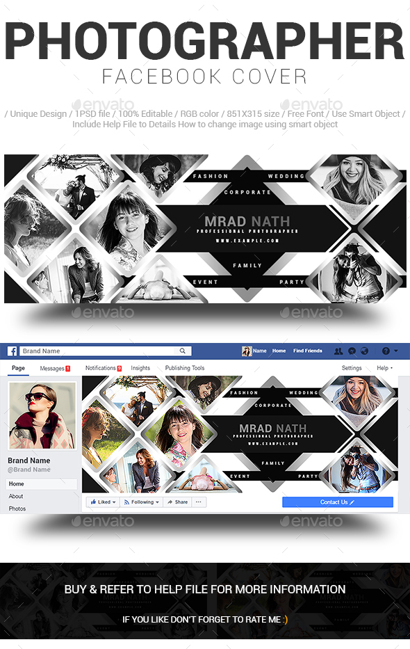 Photographer Facebook Cover Design - Social Media Web Elements