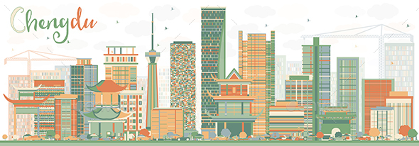 Abstract Chengdu Skyline with Color Buildings - Buildings Objects