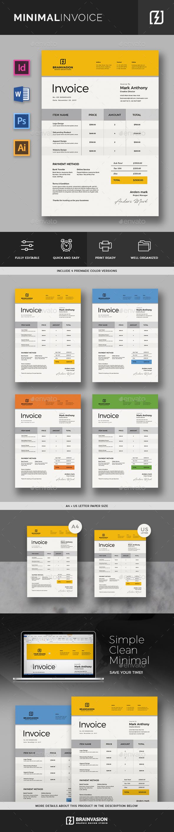 minimal invoice template by brainvasion graphicriver