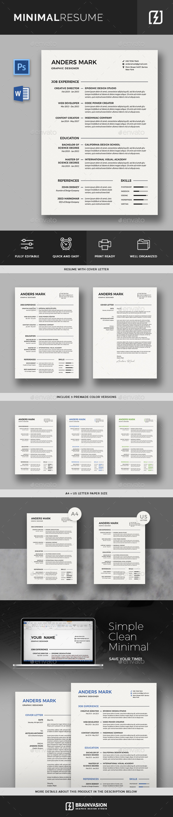 Minimal Resume Template - Resumes Stationery