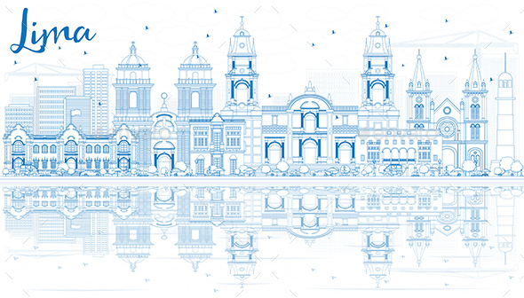 Outline Lima Skyline with Blue Buildings and Reflections - Buildings Objects