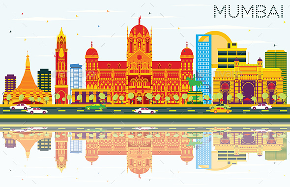 Mumbai Skyline with Color Buildings, Blue Sky and Reflections - Buildings Objects
