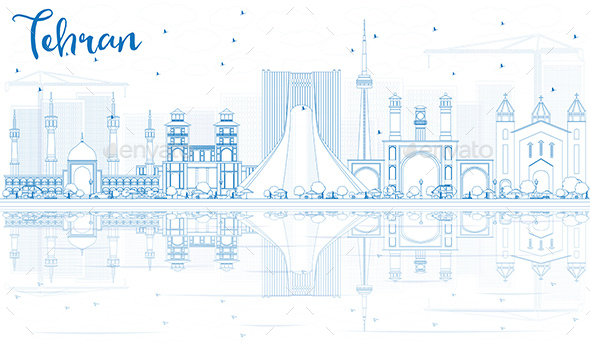 Outline Tehran Skyline with Blue Landmarks and Reflections - Buildings Objects