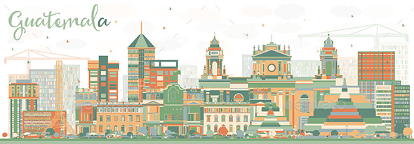 Abstract Guatemala Skyline with Color Buildings - Buildings Objects