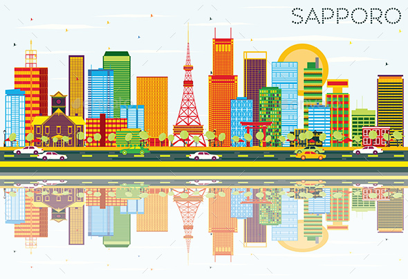 Sapporo Skyline with Color Buildings, Blue Sky and Reflections - Buildings Objects