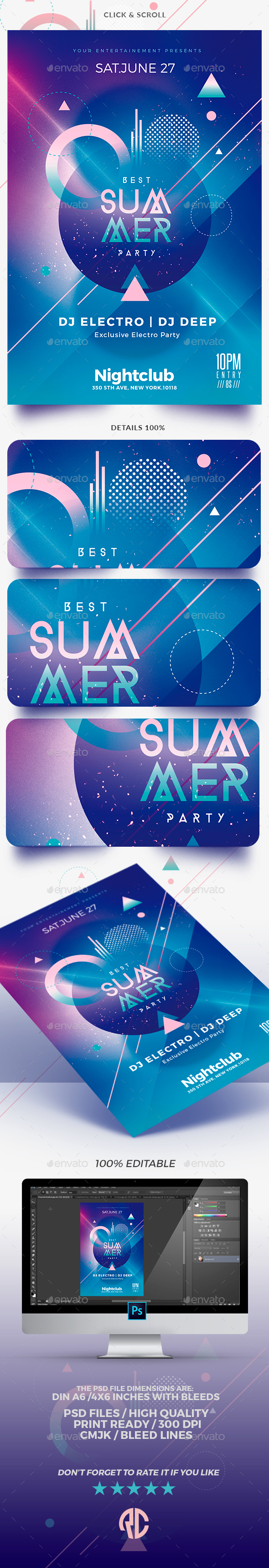 Electro Summer | Psd Flyer Template - Clubs & Parties Events