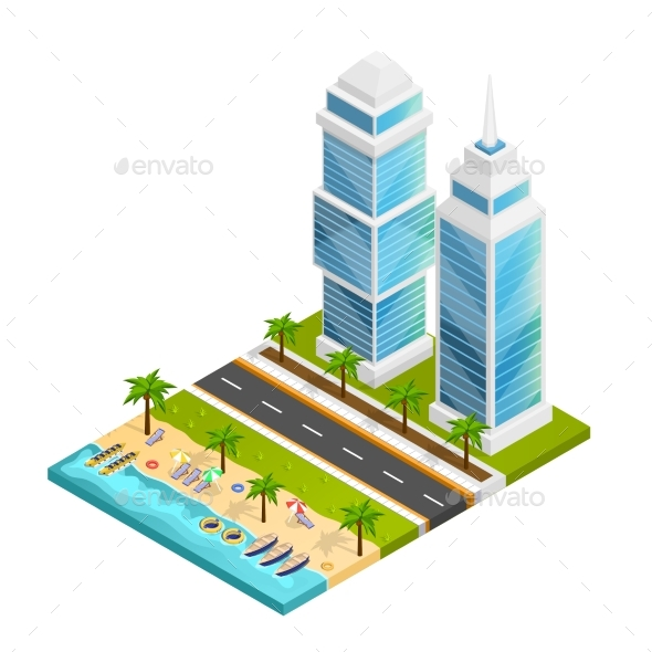 City And Beach Concept - Buildings Objects