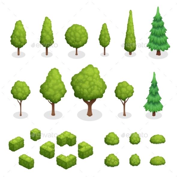 Park Plants Isometric Set - Landscapes Nature