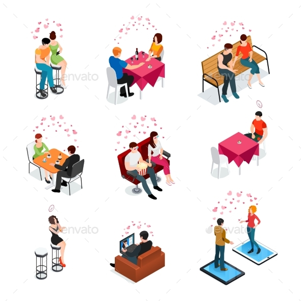 Dating Isolated Isometric Icons - Objects Vectors