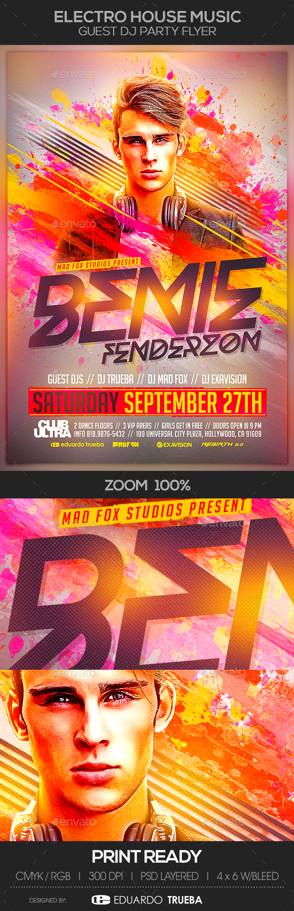 Electro House Music Guest Dj Party Flyer - Clubs & Parties Events