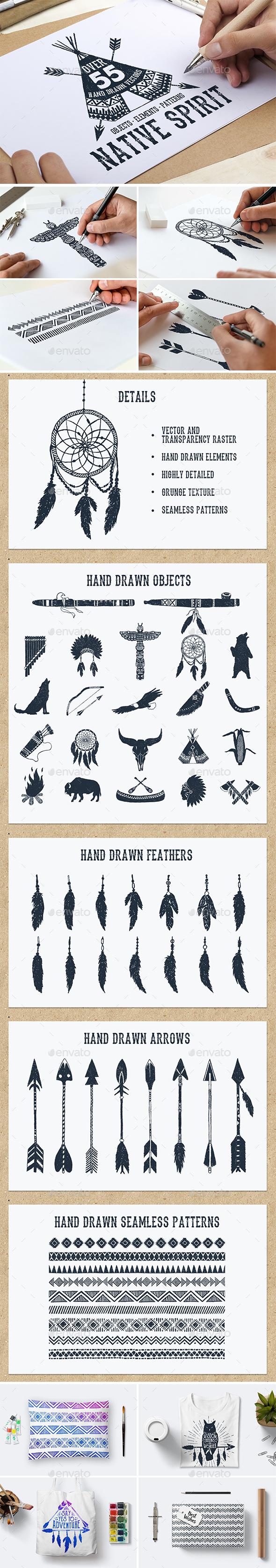 Native Spirit. 55 Hand Drawn Objects - Decorative Symbols Decorative
