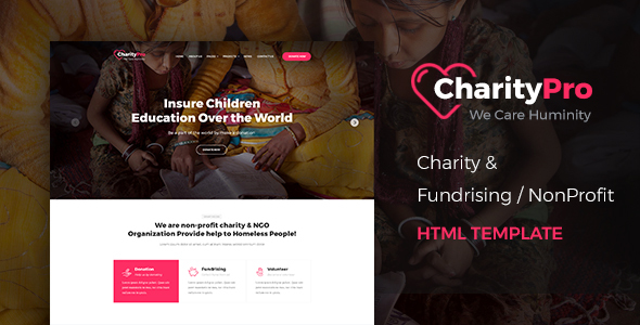 Charity Pro – Responsive HTML Template for Charity & Fund Raising