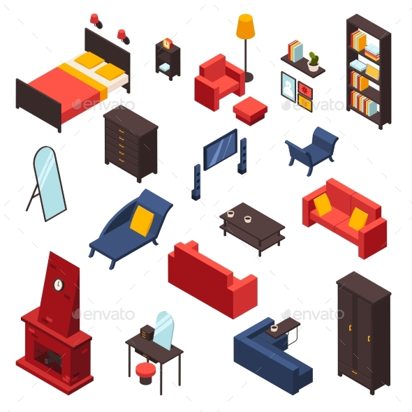 Living Room Furniture Icons Set - Man-made Objects Objects