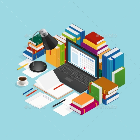 Educational Books Isometric Illustration - Miscellaneous Vectors