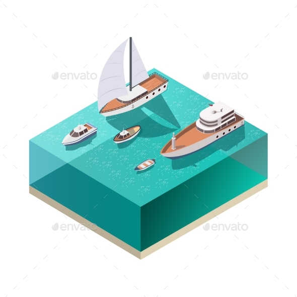 Ships Isometric Composition - Man-made Objects Objects