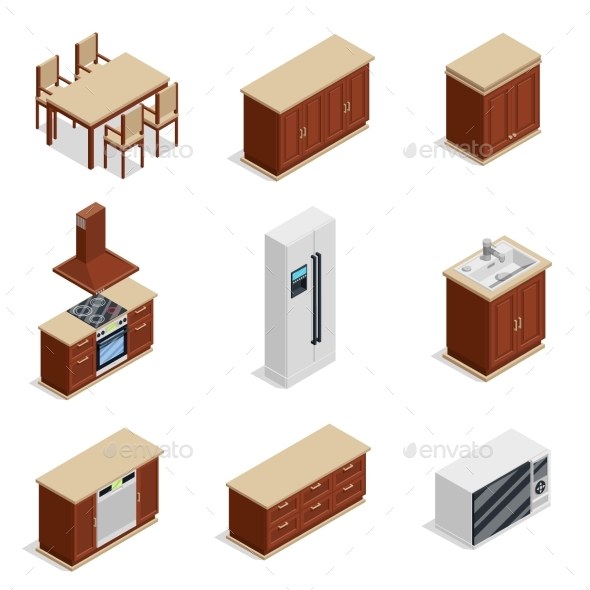 Kitchen Furniture Isometric Icons Set - Man-made Objects Objects