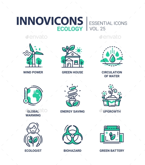 Ecology - Modern Color Vector Single Line Icon Set - Technology Conceptual