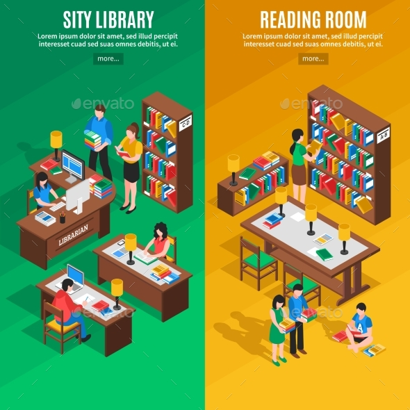 Library Isometric Vertical Banners - People Characters