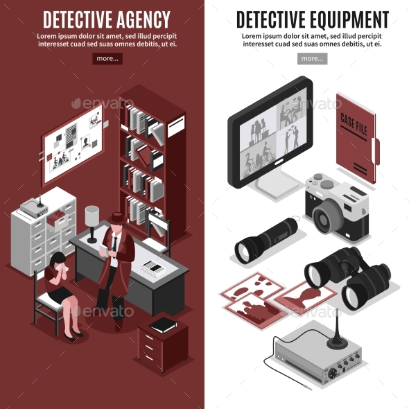 Detective Agency Vertical Banners - Man-made Objects Objects