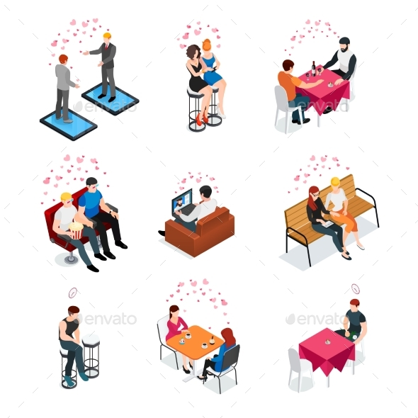 Gay Dating Isometric Compositions - Objects Vectors