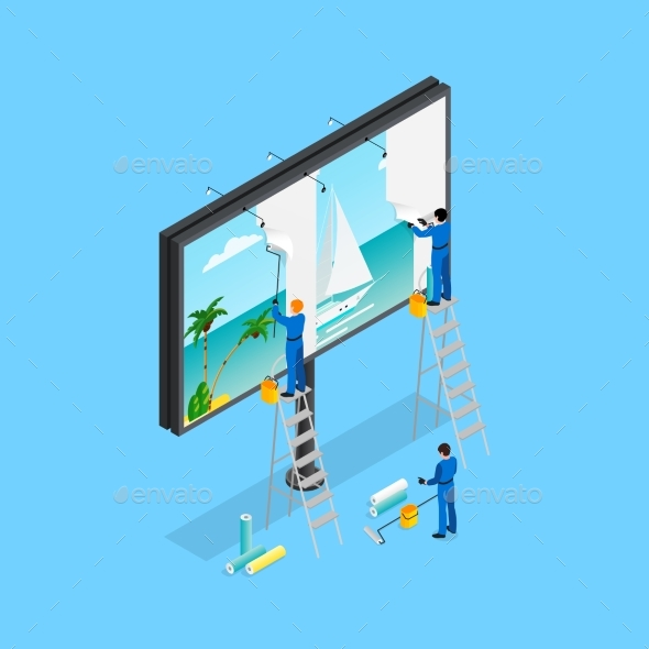 Travel Advertising Isometric Concept - Miscellaneous Vectors