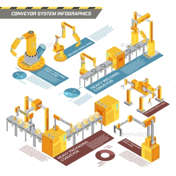 Conveyor System Isometric Infographics - Industries Business