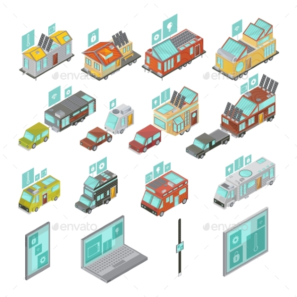 Mobile Homes Isometric Set - Technology Conceptual
