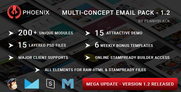 PHOENIX - Multi-Concept Responsive Email Pack - Newsletters + Notifications - Email Templates Marketing