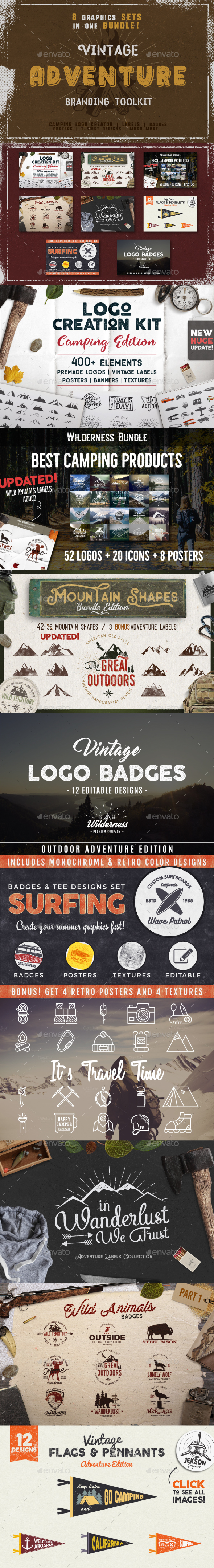 Vintage Adventure Branding Toolkit - Badges & Stickers Web Elements