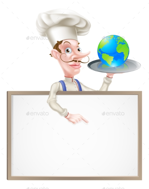 World Globe Chef Sign - Miscellaneous Vectors