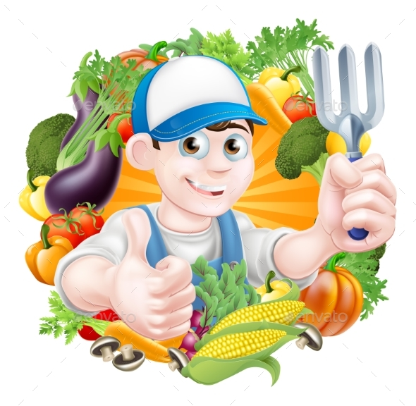 Gardener and Vegetables - Food Objects