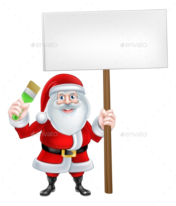 Paintbrush Sign Santa - Miscellaneous Vectors