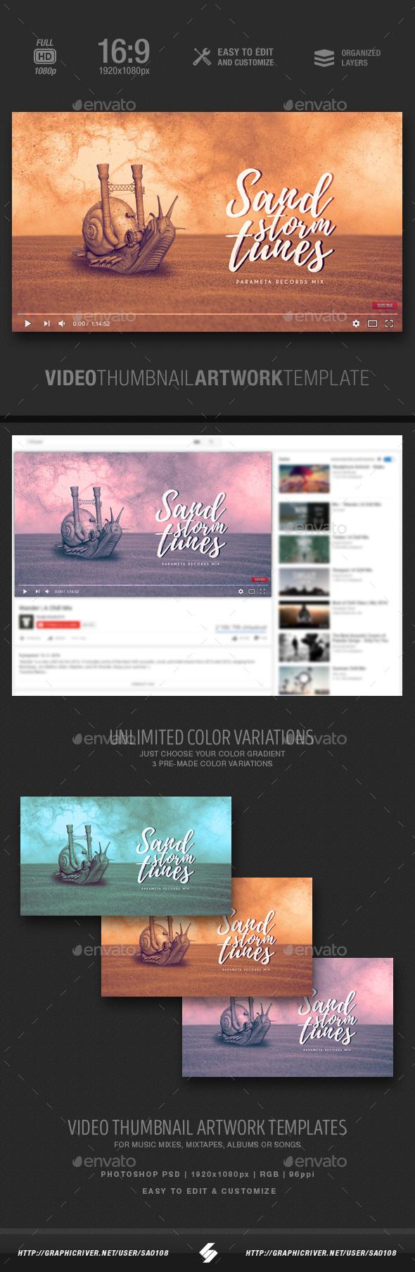 Sandstorm Tunes - Music Video Thumbnail Artwork Template - YouTube Social Media
